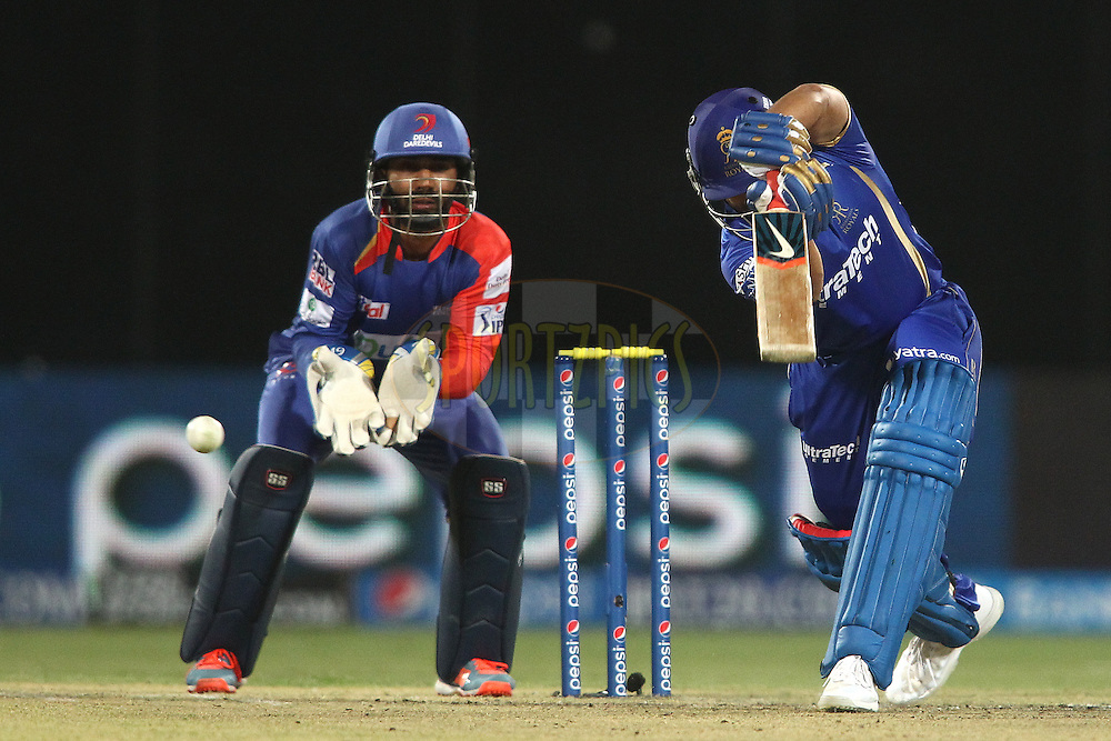 Karun Nair of the Rajasthan Royals drives a delivery through the covers during match 23 of the Pepsi Indian Premier League Season 2014 between the Delhi Daredevils and the Rajasthan Royals held at the Feroze Shah Kotla cricket stadium, Delhi, India on the 3rd May  2014<br /> <br /> Photo by Shaun Roy / IPL / SPORTZPICS<br /> <br /> <br /> <br /> Image use subject to terms and conditions which can be found here:  http://sportzpics.photoshelter.com/gallery/Pepsi-IPL-Image-terms-and-conditions/G00004VW1IVJ.gB0/C0000TScjhBM6ikg