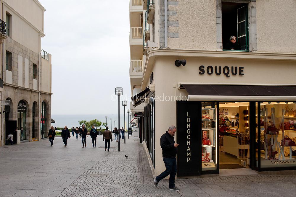 A street scene in the city center of Biarrtiz, France.