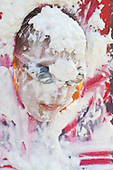 Middletown, New York - A boy wearing goggles is covered in whipped cream after being hit in the face by pies during the Camp Funshine Carnival Night on Aug. 16, 2012. The night celebrated the Middletown YMCA summer camp, which ended the next day.