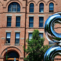 Spinning Steel Sculpture in Front of the Bozeman Building in Bozeman, Montana<br />