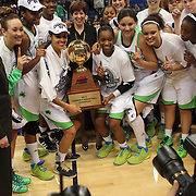 The winning Notre Dame team with the trophy after the Connecticut V Notre Dame Final match won by Notre Dame 61-59 during the Big East Conference, 2013 Women's Basketball Championships at the XL Center, Hartford, Connecticut, USA. 11th March. Photo Tim Clayton