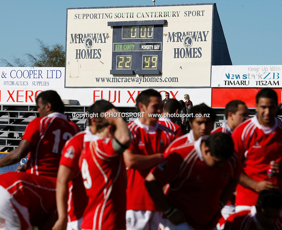 The final score is on the score board following the match. Heartland Championship Lochore Cup Final between, South Canterbury v Poverty Bay at Alpine Energy Stadium, Timaru, South Canterbury. Saturday 8 October 2011. Photo : Joseph Johnson/photosport.co.nz
