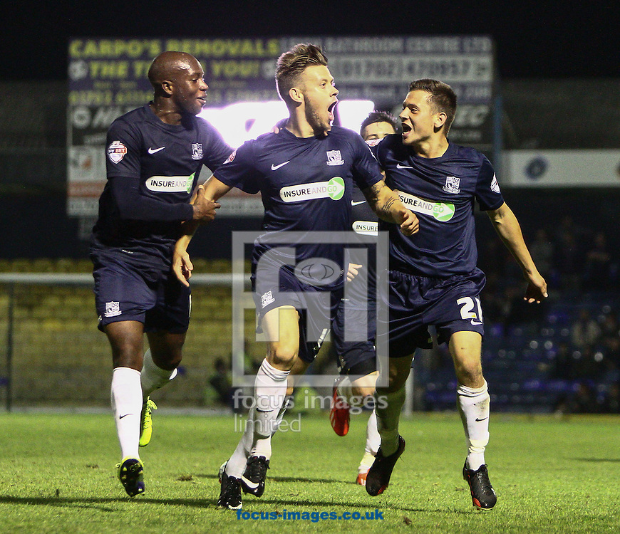 Picture by Daniel Chesterton/Focus Images Ltd +44 7966 018899<br /> 27/09/2013<br /> Kevan Hurst of Southend United (centre) celebrates after scoring his side's first goal during the Sky Bet League 2 match at Roots Hall, Southend.