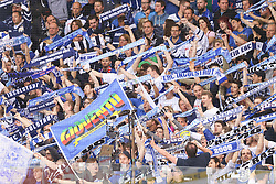 12.04.2015, Saturn Arena, Ingolstadt, GER, DEL, ERC Ingolstadt vs Adler Mannheim, Playoff, Finale, 2. Spiel, im Bild Fankurve des ERC // during Germans DEL Icehockey League 2nd final match between ERC Ingolstadt and Adler Mannheim at the Saturn Arena in Ingolstadt, Germany on 2015/04/12. EXPA Pictures © 2015, PhotoCredit: EXPA/ Eibner-Pressefoto/ Strisch<br /> <br /> *****ATTENTION - OUT of GER*****