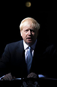 UNITED KINGDOM, London: 24 July 2019 The new British Prime Minister Boris Johnson addresses members of the media outside No.10 Downing Street after speaking with Her Majesty The Queen at Buckingham Palace and officially becoming British Prime Minister.<br /> Rick Findler / Story Picture Agency