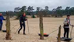 (L-R) Henk, Loes and Cathelijne in training for the Camino 2020 at the Soesterduinen on March 08, 2020 in Soest, Netherlands