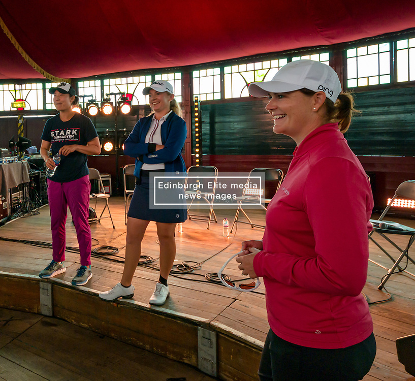 Pictured: Fringe by the Sea, North Berwick, East Lothian, Scotland, United Kingdom, 06 August 2019. Top female golfers competing in the Aberdeen Standard Investments Ladies Scottish Open this week appear on a panel and take questions from the audience, as part of a podcast called On the Dance Floor. Pictured: from L to R Angela Stanford (USA), Tiffany Joh (USA), Bronte Law (UK), Caroline Masson (Germany).<br /> <br /> Sally Anderson | EdinburghElitemedia.co.uk