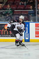 KELOWNA, CANADA - MARCH 16: Krz Plummer #32 of the Vancouver Giants skates against the Kelowna Rockets on March 16, 2019 at Prospera Place in Kelowna, British Columbia, Canada.  (Photo by Marissa Baecker/Shoot the Breeze)