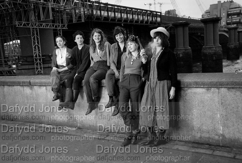 Idle Women: artists; Catherine Bagg; Rose O' Gallivan; ; Niamh Riordan; Poppy Jones; Lise Hoveson; Gabrielle Beveridge, ;  Blackriars. London. 10 January 2010 *** Local Caption *** -DO NOT ARCHIVE-&copy; Copyright Photograph by Dafydd Jones. 248 Clapham Rd. London SW9 0PZ. Tel 0207 820 0771. www.dafjones.com.<br /> Idle Women: artists; Catherine Bagg; Rose O' Gallivan; ; Niamh Riordan; Poppy Jones; Lise Hoveson; Gabrielle Beveridge, ;  Blackriars. London. 10 January 2010