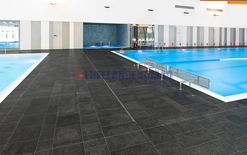 Polished and brushed Granite G684 Black Rain Basalt public swimming pool interior floor tiles realization