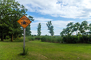 turtle warn sign in an Indian Reserve, Kettle Point, Lake Huron, Ontario, Canada, North America