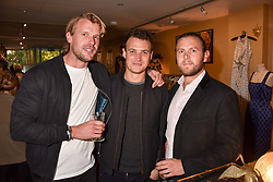 Left to right, Charlie Nash, Tom Dailey and Sam Horne at the Seren London Launch Party held at Baar And Bass, 336 Kings Road, London England. 26 April 2017.
