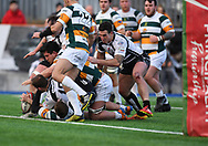 Pontypridds' Gearing Walsh scores a try<br /> <br /> Photographer Mike Jones/Replay Images<br /> <br /> Principality Premiership Merthyr v Pontypridd - Saturday 17th February 2018 - The Wern Merthyr Tydfil<br /> <br /> World Copyright © Replay Images . All rights reserved. info@replayimages.co.uk - http://replayimages.co.uk