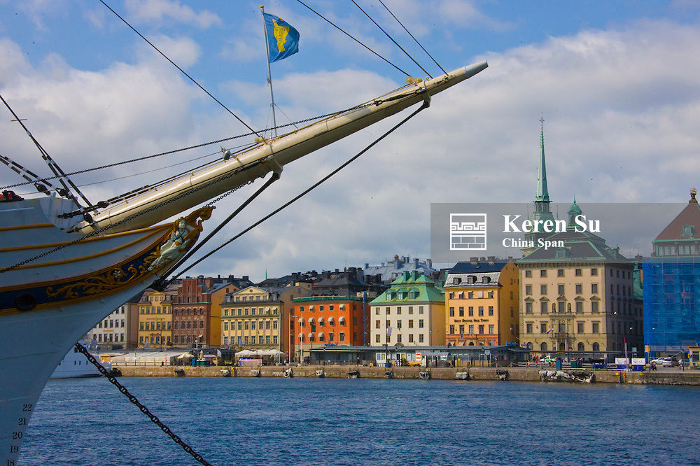 Sail boat and buildings along the waterfront, Stockholm, Sweden