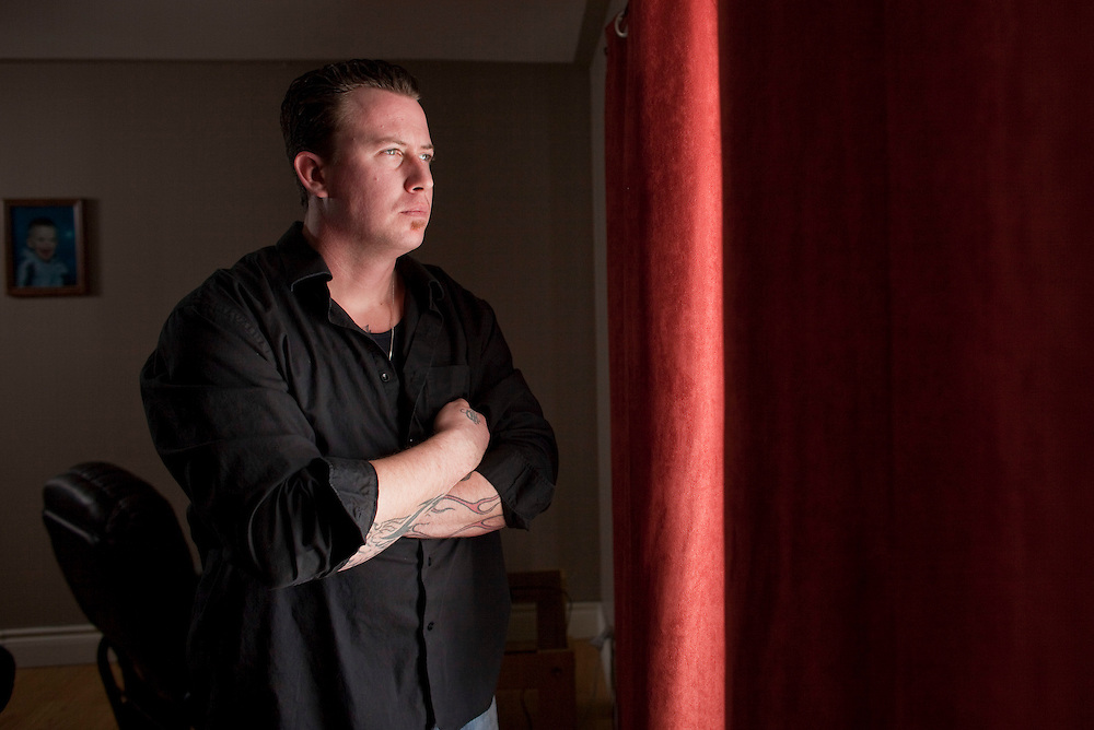 Aylmer, Ontario ---10-02-16--- Joe Webber, 30, poses for a photograph in his Aylmer, Ontario home, February 16, 2010. Joe served 20 months in jail for a crime he did not commit. He is now fighting for compensation.<br /> GEOFF ROBINS The Globe and Mail