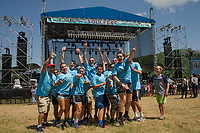 "The Eastern Nazarene College group of ""soulfesters"" from Quincy, MA get into their groove for Juniper the first band to take the Main Stage at Gunstock's Soulfest 2017 on Thursday afternoon.  (Karen Bobotas/for the Laconia Daily Sun)"