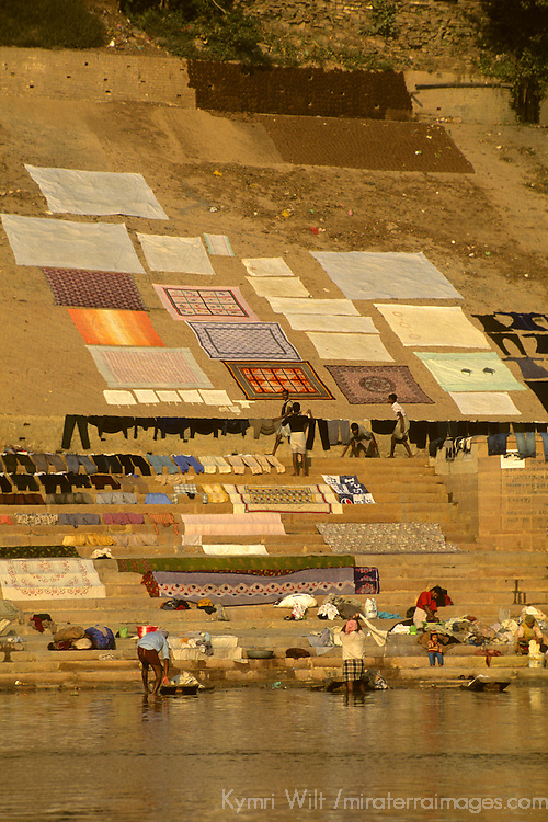 Asia, India, Varanasi. Laundry, freshly washed in the Ganges River, spread out to dry at the Ghats.