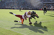 Dec 16, 2018; Jacksonville, FL, USA; Washington Redskins tight end Jeremy Sprinkle (87) dives into the end zone for a touchdown in the 4th quarter against the Jacksonville Jaguars during an NFL game at TIAA Bank Field. The Redskins beat the Jaguars 16-13. (Steve Jacobson/Image of Sport)