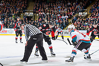 KELOWNA, CANADA - FEBRUARY 18: Brogan O'Brien #15 of the Prince George Cougars faces off against Dillon Dube #19 of the Kelowna Rockets on February 18, 2017 at Prospera Place in Kelowna, British Columbia, Canada.  (Photo by Marissa Baecker/Shoot the Breeze)  *** Local Caption ***