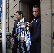 Dundee manager Paul Hartley and Gavin Rae take the trophy out to show to the fans - Dundee FC civic reception at Dundee City Chambers<br /> <br />  - &copy; David Young - www.davidyoungphoto.co.uk - email: davidyoungphoto@gmail.com