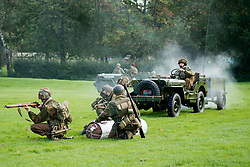 Rufford Abbey 1940's Weekend<br /> Reenactors portraying the 1st British Airborne Division (1st Allied Airborne Corps) simulate a training exercise recovering supplied from a drop zone<br /> <br />   30 September 2017 <br />   Copyright Paul David Drabble<br />   www.pauldaviddrabble.co.uk
