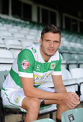 Yeovil Town's Captain Ryan Dickson poses. - Photo mandatory by-line: Harry Trump/JMP - Mobile: 07966 386802 - 06/08/15 - SPORT - FOOTBALL - Yeovil Town Press Day - Huish Park, Yeovil, England.