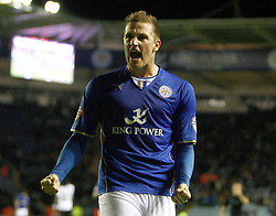 Leicester's Chris Wood celebrates his goal - Photo mandatory by-line: Matt Bunn/JMP - Tel: Mobile: 07966 386802 29/10/2013 - SPORT - FOOTBALL - King Power Stadium - Leicester City - Leicester City v Fulham - Capital One Cup - Forth Round