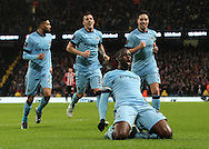 Yaya Toure of Manchester City celebrates scoring the first goal against Sunderland during the Barclays Premier League match at the Etihad Stadium, Manchester.<br /> Picture by Michael Sedgwick/Focus Images Ltd +44 7900 363072<br /> 01/01/2015