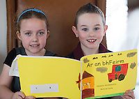 REPRO FREE:  Emma Murphy and Adam Healy Ballinderry NS at the Galway Education Centre's Scriobh Leabhair at the Radisson Blu hotel where national school pupil wrote and Illustrated their own books. Photo:Andrew Downes, xposure.