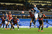 Bournemouth midfielder Marc Pugh heads clear during the The FA Cup third round match between Birmingham City and Bournemouth at St Andrews, Birmingham, England on 9 January 2016. Photo by Alan Franklin.