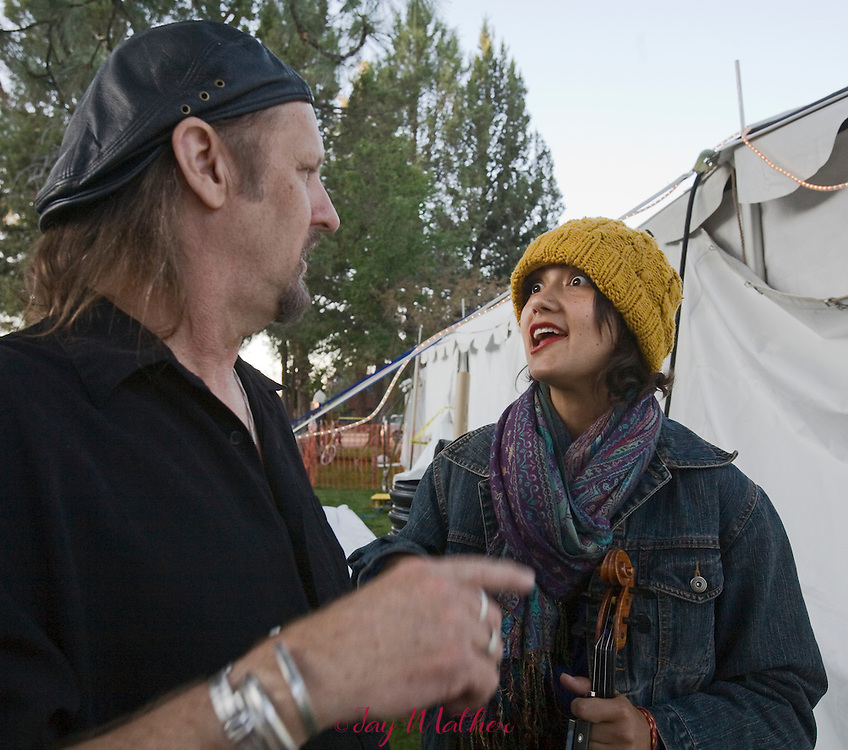 Jimmy LaFave and Phoebe Hunt sharing stories at the Village Green venue.