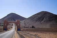 Road south of Agadir, Morocco. The gate is the division between two provinces.