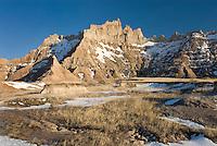 Eroded formations in Badlands National Park South Dakota USA