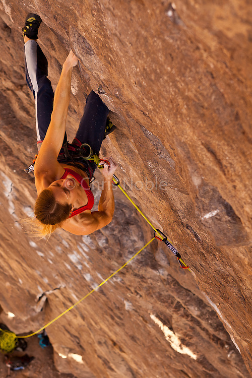 "Rock climber Lisa Rands leads the route ""Black Hole"" rated 12b, in the Owens River Gorge,"