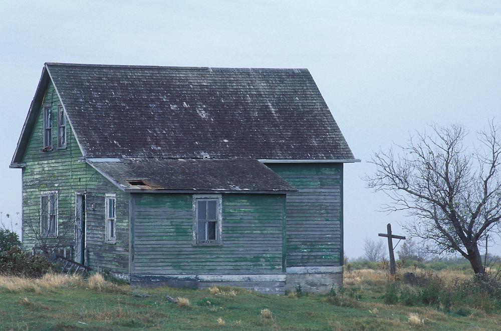 Canada, Saskatchewan, Candiac, Abandoned farmhouse beside gnarled tree on autumn morning