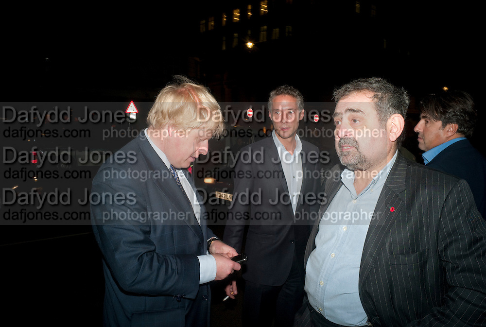 BORIS JOHNSON; ALAN DAVIDSON, Drinks soiree and silent auction of Ô100 ThingsÕ,  hosted by the Mayor of London Boris Johnson, in aid of the Legacy List. 50 St. James. London. 2 November 2011. <br /> <br />  , -DO NOT ARCHIVE-© Copyright Photograph by Dafydd Jones. 248 Clapham Rd. London SW9 0PZ. Tel 0207 820 0771. www.dafjones.com.<br /> BORIS JOHNSON; ALAN DAVIDSON, Drinks soiree and silent auction of '100 Things',  hosted by the Mayor of London Boris Johnson, in aid of the Legacy List. 50 St. James. London. 2 November 2011. <br /> <br />  , -DO NOT ARCHIVE-© Copyright Photograph by Dafydd Jones. 248 Clapham Rd. London SW9 0PZ. Tel 0207 820 0771. www.dafjones.com.