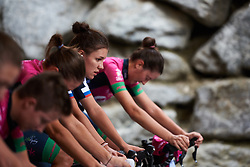 Bepink Team warm up for UCI Road World Championships 2018 - Women's Team Time Trial, a 54 km team time trial in Innsbruck, Austria on September 23, 2018. Photo by Sean Robinson/velofocus.com