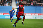Nottingham Forest forward Sammy Ameobi (19) on the run during the EFL Sky Bet Championship match between Wigan Athletic and Nottingham Forest at the DW Stadium, Wigan, England on 20 October 2019.
