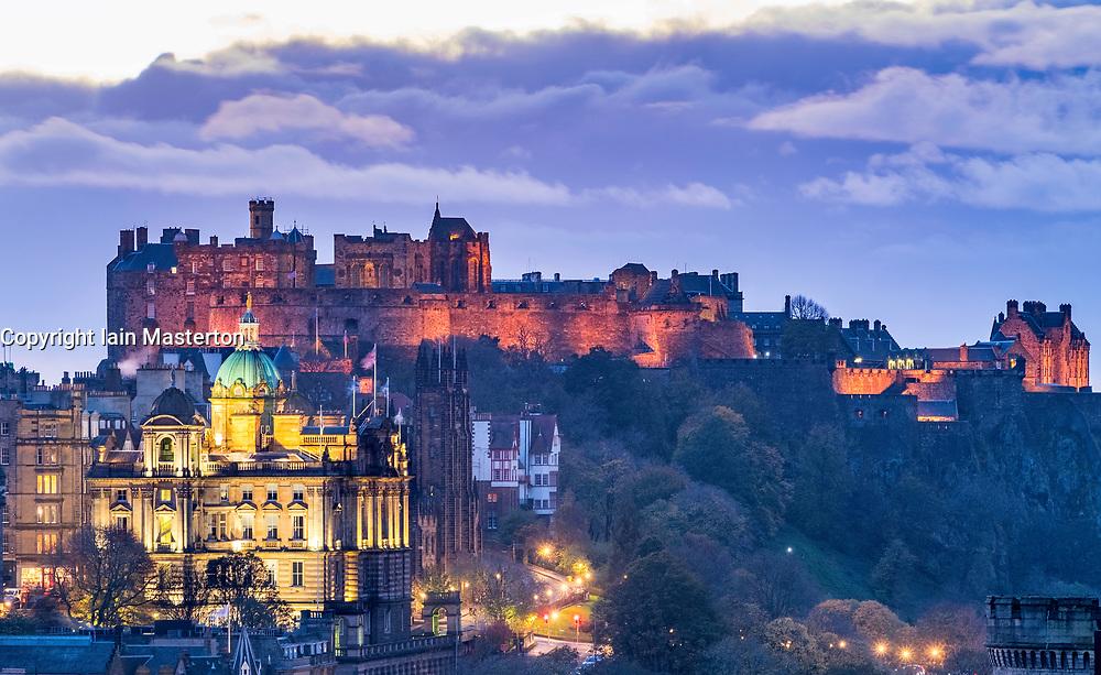 View of Edinburgh castle illuminated at night from Calton Hill in Edinburgh, Scotland ,United Kingdom