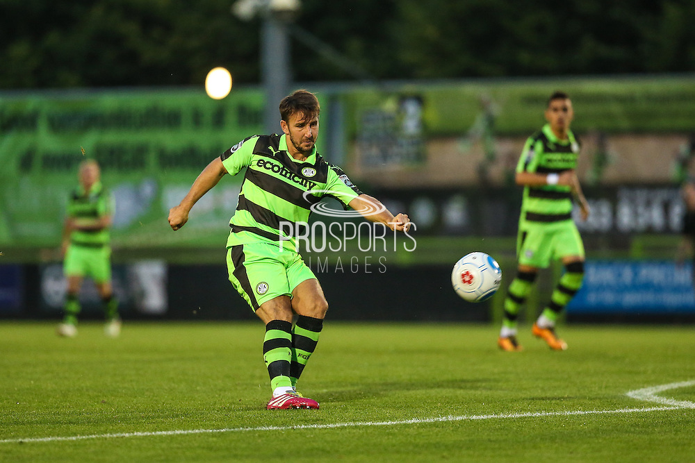 Forest Green Rovers Matt Tubbs (20) has a shot at goal during the Gloucestershire Senior Cup match between Forest Green Rovers and Cheltenham Town at the New Lawn, Forest Green, United Kingdom on 20 September 2016. Photo by Shane Healey.