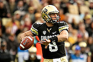 November 3, 2012:  University of Colorado Buffalos quarterback Nick Hirschman (8) looks to pass during the NCAA Football game between the Stanford Cardinal and the University of Colorado Buffalos at Folsom Field in Boulder, CO
