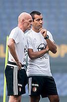 ROTTERDAM - Eerste training van Feyenoord , voetbal , seizoen 2015-2016 , Stadion De Kuip , 28-06-2015 , Feyenoord trainer Giovanni van Bronckhorst (r) samen met Feyenoord assistent trainer Jan Wouters (l)
