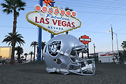 General overall view of Raiders helmet in front of the Welcome to the Fabulous Las Vegas sign on Las Vegas Blvd. on the Las Vegas strip in Las Vegas, Tuesday, Sept. 25, 2018. The Raiders will relocate from Oakland to Las Vegas for the 2020 season.