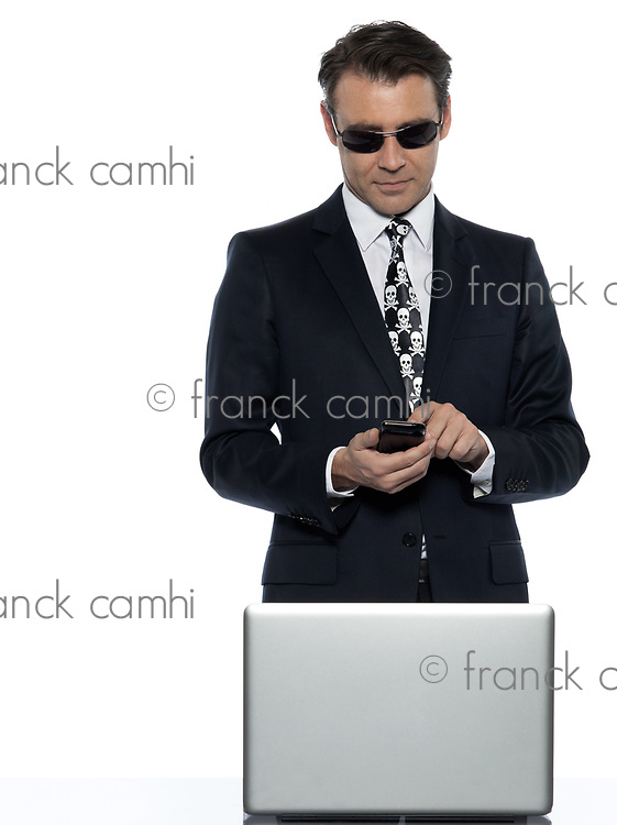 man computer pirate caucasian in studio isolated on white background
