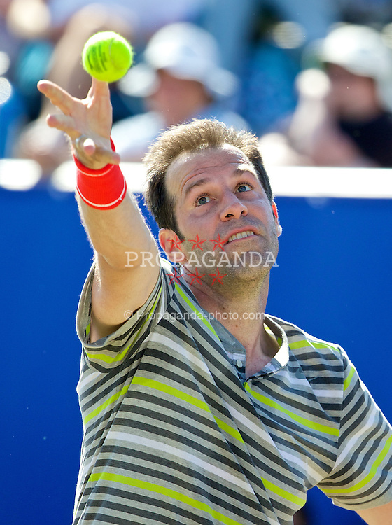LIVERPOOL, ENGLAND - Saturday, June 21, 2014: Greg Rusedski (GRB) during Day Three of the Liverpool Hope University International Tennis Tournament at Liverpool Cricket Club. (Pic by David Rawcliffe/Propaganda)