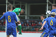 Adam Idah of Republic of Ireland (9) heads at goal during the UEFA European Under 17 Championship 2018 match between Bosnia and Republic of Ireland at Stadion Bilino Polje, Zenica, Bosnia and Herzegovina on 11 May 2018. Picture by Mick Haynes.