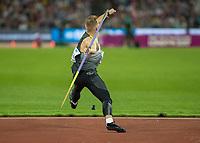 Athletics - 2017 IAAF London World Athletics Championships - Day Nine, Evening Session<br /> <br /> Mens Javelin Final<br /> <br /> Johannes Vetter (Germany) wins the gold medal at the London Stadium<br /> <br /> COLORSPORT/DANIEL BEARHAM