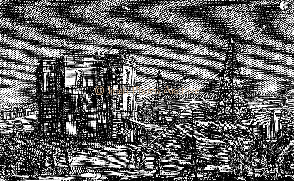 Jean-Dominique Cassini (c1670-1756) Italian-born French astronomer. Headpiece from his tables 'Astronomiques du Soleil de la Lune?' Paris 1740 showing telescopes being used at the Paris Observatory to observe Saturn, the moon, etc.
