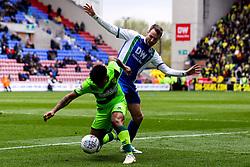 Onel Hernandez of Norwich City takes on Nick Powell of Wigan Athletic - Mandatory by-line: Robbie Stephenson/JMP - 14/04/2019 - FOOTBALL - DW Stadium - Wigan, England - Wigan Athletic v Norwich City - Sky Bet Championship