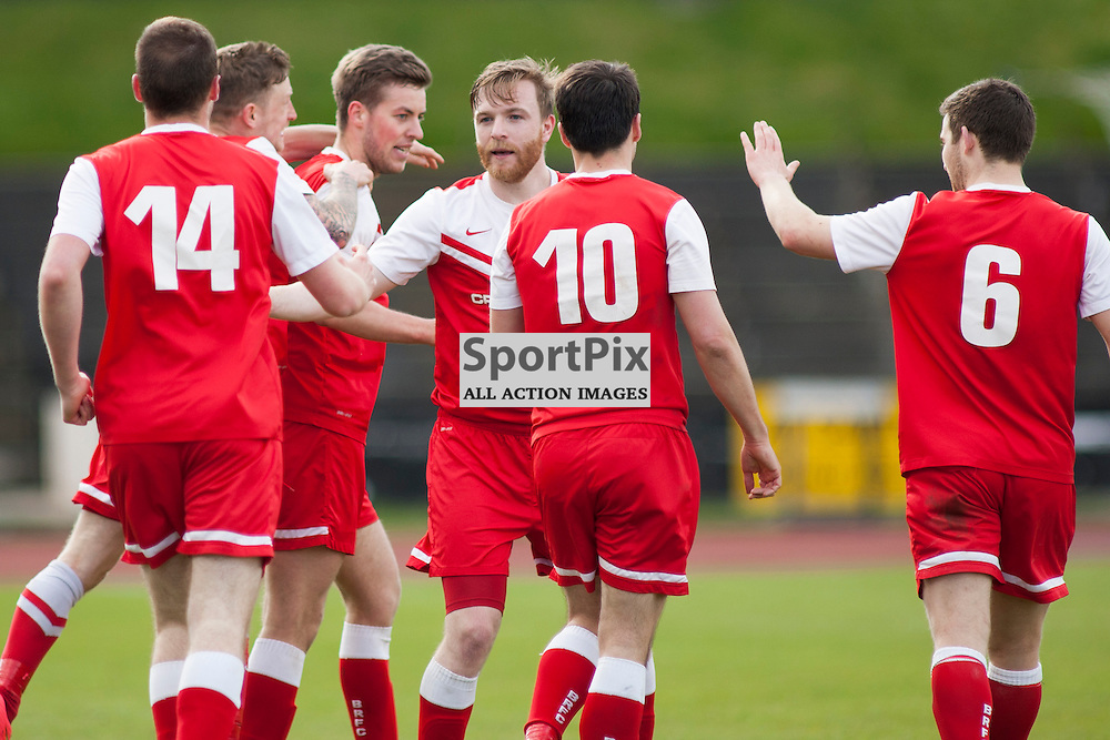 Andrew Stobie tips the ball ov er the bar from a Steven McKay header in the Edinburgh City v Brora Rangers Pyramid Play Off at Meadowbank Stadium in Edinburgh 25 April 2015<br /> <br /> (c) Russell G Sneddon / SportPix.org.uk